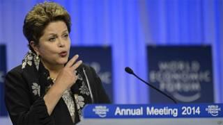 Dilma Rousseff durante discurso em Davos (AP)