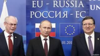 Слева направо: президент Европейского Совета Херман ван Ромпей, президент России Владимир Путин и глава Еврокомиссии Жозе-Мануэль Баррозу в Брюсселе 28 января 2014 г.