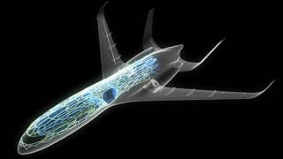 Dibujo de avión con fibras de carbono