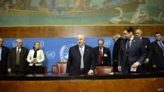 Правительственная делегация Сирии на переговорах в Женеве