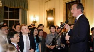 英國首相卡梅倫在首相府舉辦馬年新春招待會。