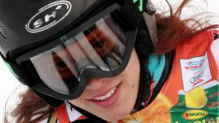 Lebanon's Jacky Chamoun smiles after the women's slalom first run at the World Ski Championships