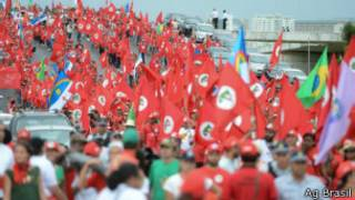 Protestos do MST em Brasília, nesta quarta (Ag Brasil)