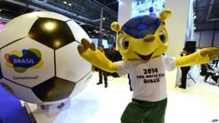 Fuleco, o mascote da Copa. Foto: AFP