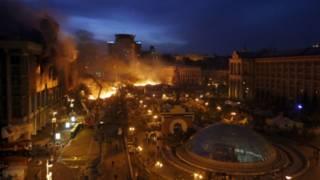Ukrayna başkenti Kiev'de çatışmalar şiddetlendi