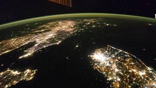 Foto de la península coreana tomada por la NASA