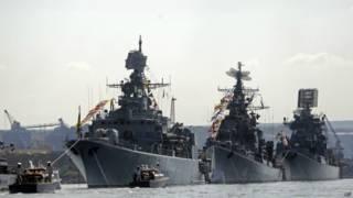 Navios russos de guerra no Mar Negro. Foto: AP
