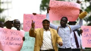 Демонстрация сторонников закона об ужесточении наказания за гомосексуализм в Уганде 24 февраля 2014 года