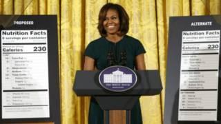 ميشيل أوباما أثناء حديثها في البيت الأبيض