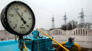 Válvula de gasoduto na Ucrânia (foto: Getty)