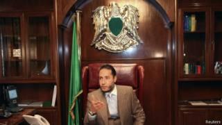 Саади Каддафи в своем кабинете