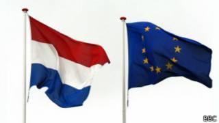 荷蘭與歐盟旗幟