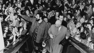Fidel Castro a su llegada a Moscú en 1963.