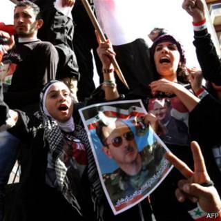 Seguidores de Al Asad en Líbano