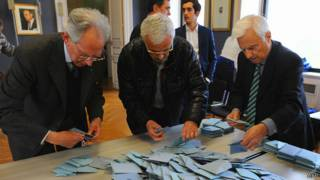 Подсчет голосов во Франции 30 марта 2014 года