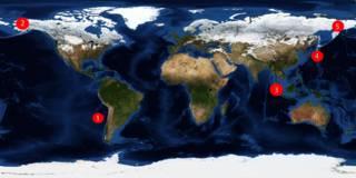 Mapa-múndi dos terremotos   Crédito: BBC Brasil