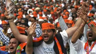 मोदी की हीरा नगर रैली के दौरान भाजपा समर्थक