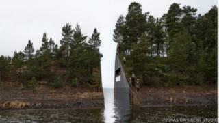 صورة النصب التذكاري الذي تعتزم حكومة النرويج إقامته لضحايا مذبحة بريفيك