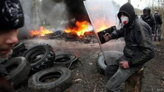 Grupos prorrusos en Sloviansk
