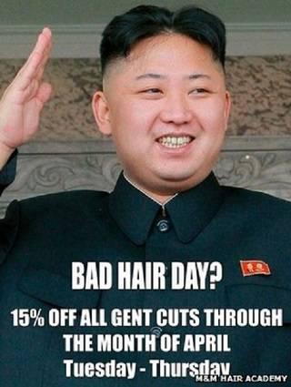 احتج مسؤولون بسفارة كوريا الشمالية في لندن على استخدام صالون لتصفيف الشعر صورة لرئيس كوريا الشمالية كيم جونغ أون في ملصق ترويجي للصالون