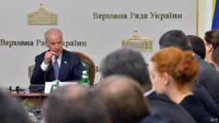 بایدن و اعضای پارلمان اوکراین
