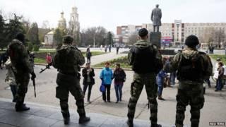 斯洛維揚斯克市長辦公樓被佔領