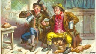 رسمة لرجلان يحتسيان الشراب
