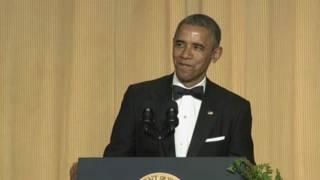 أوباما متحدثا للحضور
