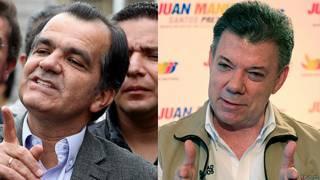 Zuluaga (esq) e Juan Manuel Santos