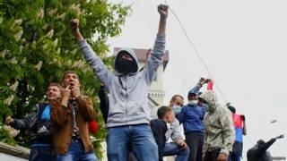 Пророссийские активисты в Мариуполе