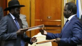 南苏丹总统基尔与叛军领导人马沙尔签署和平协议(09/05/2014)