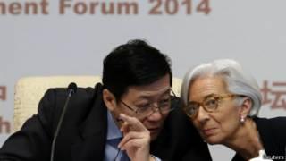楼继伟和IMF总裁拉加德在北京