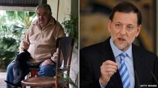 José Mujica (esq.) e Mariano Rajoy (Getty)