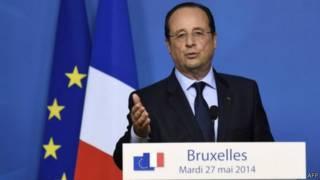 الرئيس الفرنسي فرنسوا هولاند متحدثا في قمة الاتحاد الأوروبي في بروكسل 27 مايو/ آيار 2014