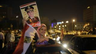 Празднование победы Сиси на площади Тахрир