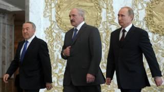 Президенты Назарбаев, Лукашенко, Путин