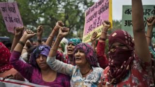 Protesta de mujeres de la casta dalit