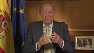 Juan Carlos faz pronunciamento na TV. Imagem: reprodução de vídeo