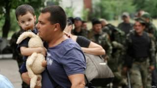 Біженці у Луганську