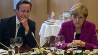 Меркель и Кэмерон за обедом на саммите G7