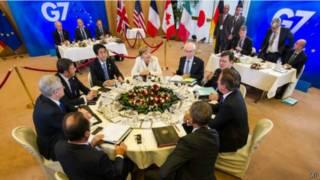 قادة الدول الصناعية السبع الكبرى في اجتماع