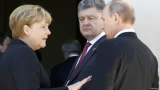Порошенко, Путин и Меркель