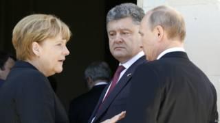 Merkel, Putin e Poroshenko (AP)