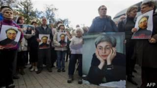Marcha pidiendo justicia por la periodista asesinada
