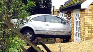 A car hit the wall