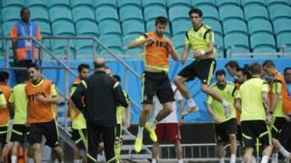 Treino oficial da seleção da Espanha (AP)