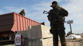 Украинский пограничный пост между Херсонской областью и Крымом