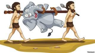 Доисторические люди несут слона