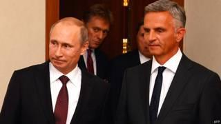 Владимир Путин и Дидье Буркхальтер в Вене 24 июня 2014 года