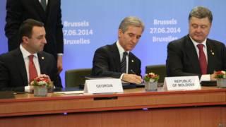 Geórgia, Moldávia e Ucrânia firmam acordo com a União Europeia   Crédito: AFP